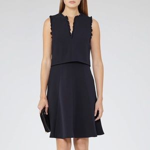 Reiss Navy Blue Frill Sleeve Braida Flare Dress